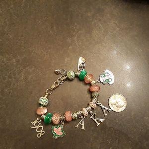 Alpha Kappa Alpha AKA Charm Bracelet